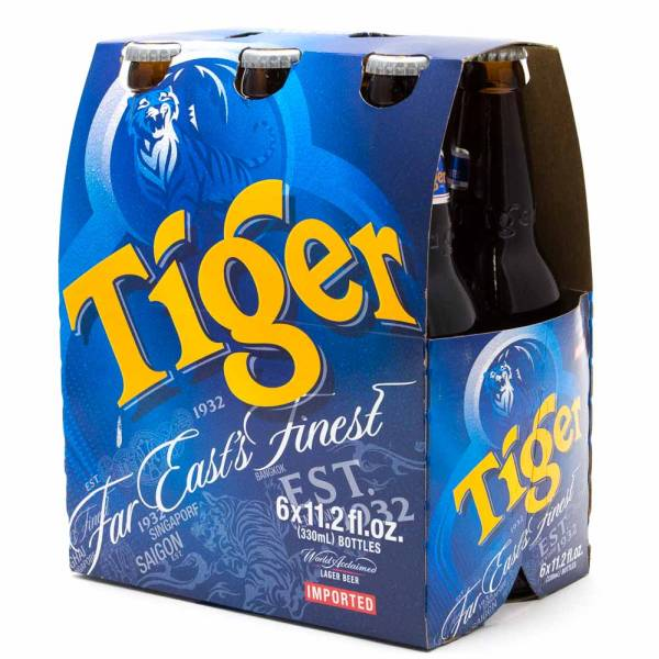 Tiger - Lager Beer - 11oz Bottle - 6 Pack
