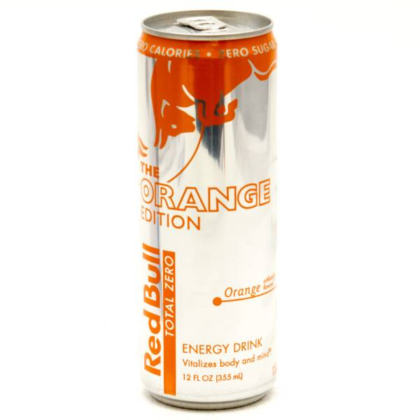 Red bull orange edition, tangerine energy drink, 12 oz can.