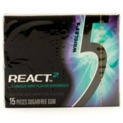 5 - React2 Mint - Sugarfree Gum - 15...
