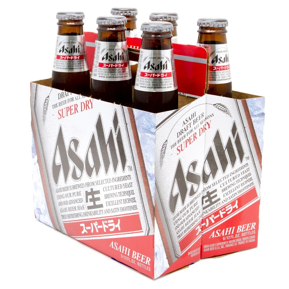 Asahi - Super Dry Draft Beer - 12oz Bottle - 6 Pack
