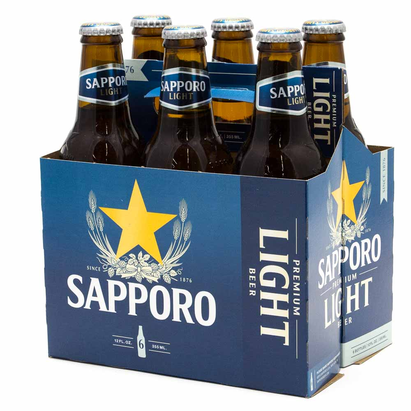 Sapporo - Premiuim Light Beer - 12oz Bottle - 6 Pack