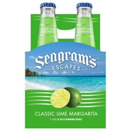 Seagram's Escapes Classic Lime Margarita Cocktail, 4 Pack, 11.2 Fl Oz