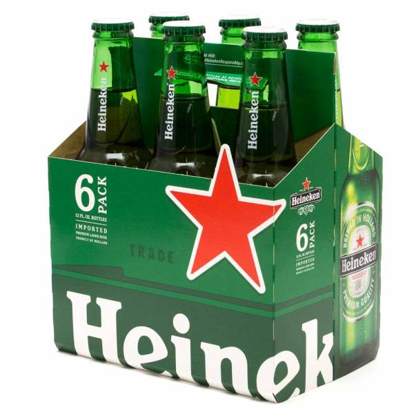 Heineken Lager Beer 12oz Bottle 6 Pack Beer Wine