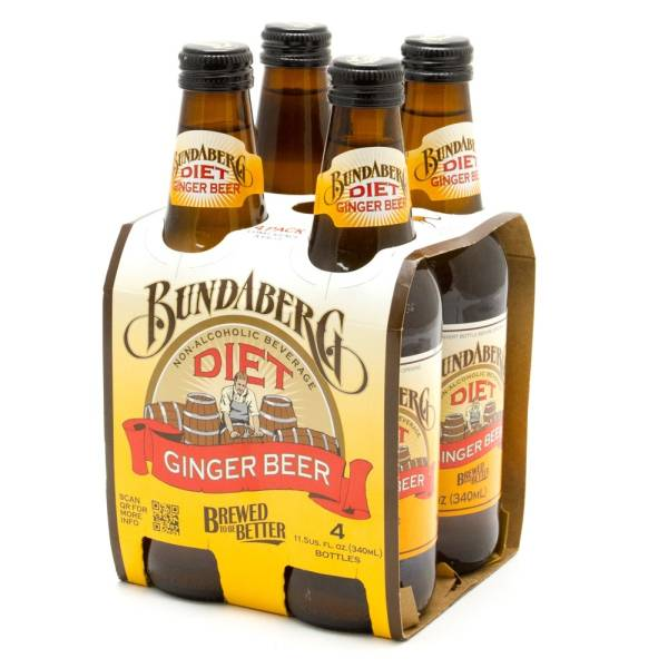 Bundaberg - Non-Alcoholic - Diet Ginger Beer - 11.5oz Bottle - 4 Pack