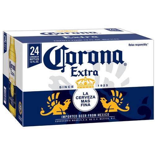 Corona Extra Beer, 12 fl oz, 24 pack bottles