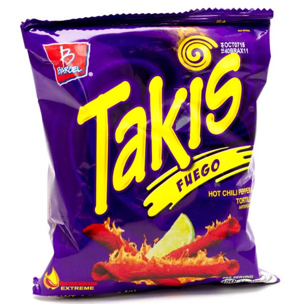 Takis Fuego Hot Chili Pepper & Lime Tortilla Chips 4oz